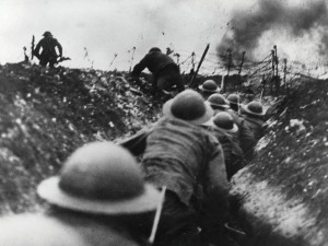 This photograph was taken on the western front in France, 1916. It shows British troops going over the top of the trenches during the battle of the Somme. This was one of the bloodiest battles of World War One, claiming over a million casualties in five months. Photography copyright Getty Images.